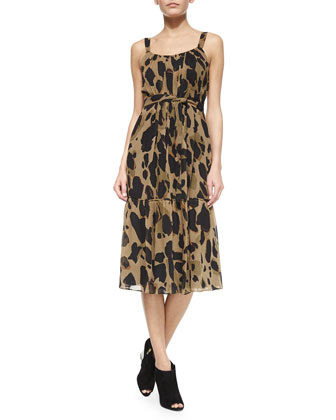 Sleeveless Belted Animal-Print Dress