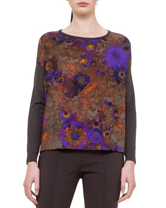 Mousseline Flower-Print Sweater & Napa Leather Pencil Skirt