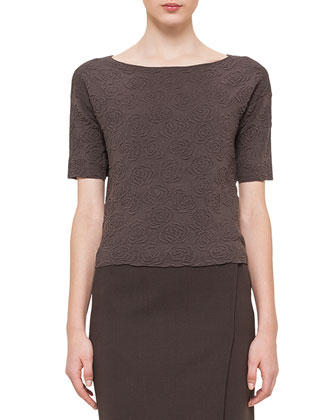 Rose Jacquard Half-Sleeve Top