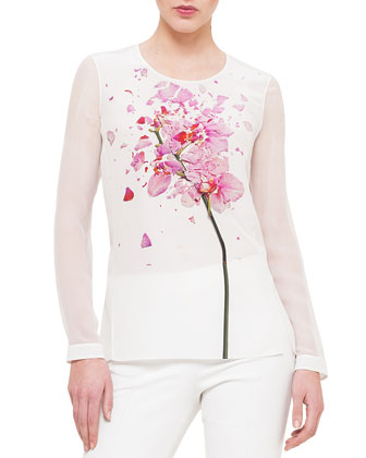 Chiffon-Sleeve Orchid-Print Blouse