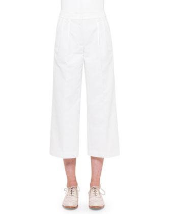 Mira Wide-Leg Cropped Pants, Off White