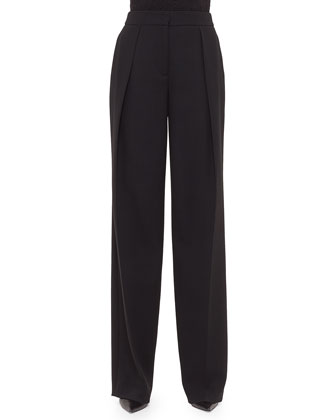 Florian Deep-Pleat Pants, Black