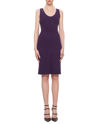Double-Faced Crepe Scoop-Neck Sheath Dress