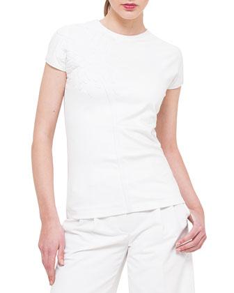 Cap-Sleeve Jersey Tee w/Neoprene Flower, Mira Wide-Leg Cropped Pants & ...
