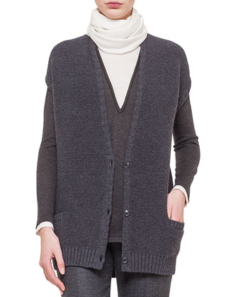 Stretch-Cashmere Reverse Ribbed Vest, Jewel-Neck Long-Sleeve Bi-Color ...