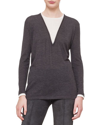 Jewel-Neck Long-Sleeve Bi-Color Tunic, Granite/Off White