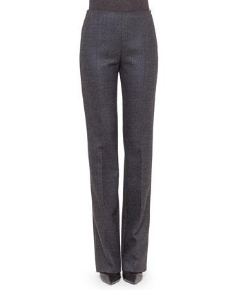 Carole Wool Straight-Leg Pants, Granite/Off White