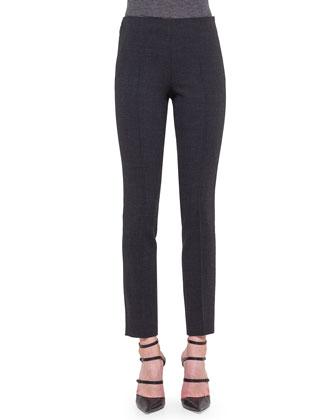 Melissa Wool Slim-Leg Pants, Granite