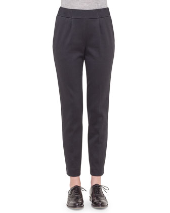 Bi-Color Jersey Casual Pants, Black/Silver