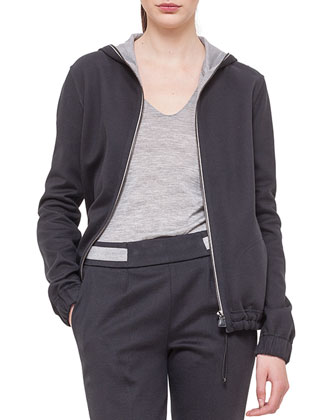 Cashmere-Blend Reversible Hooded Jacket