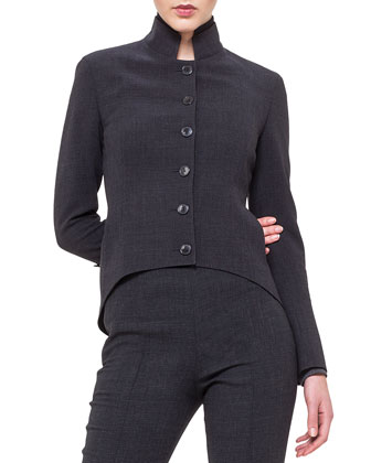 Stand-Collar Arched-Hem Jacket & Melissa Wool Slim-Leg Pants