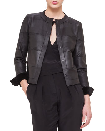 Reversible Sheared Mink Fur/Leather Jacket, Jewel-Neck Tulle V-Inset Top & ...