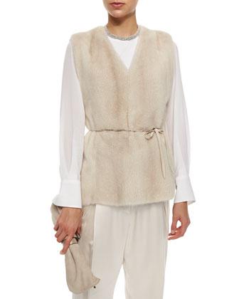 Mink Fur Vest with Monili Tie Belt, Chiffon-Sleeve Cotton Stretch Top & ...