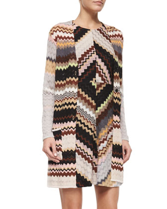 Long Zigzag Cardigan & Crewneck Fit-and-Flare Zigzag Dress