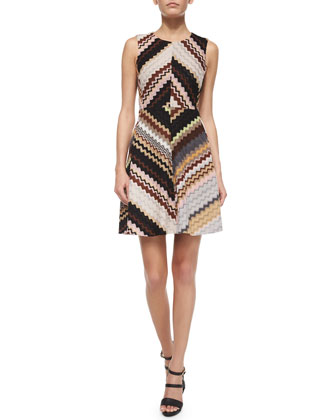 Crewneck Fit-and-Flare Zigzag Dress, Pink Multi