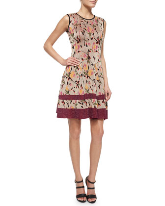 Floral Shimmer Jacquard Fit-And-Flare Dress