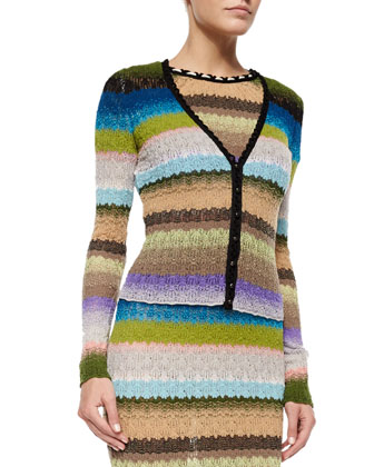 V-Neck Striped Cardigan & Pickstitched-Neckline Striped Dress