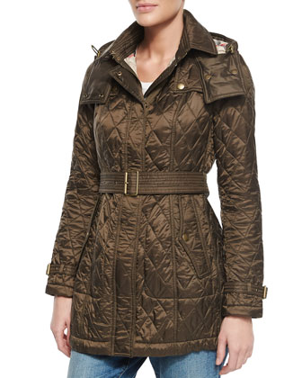 Long Diamond-Quilted Parka Coat, Olive