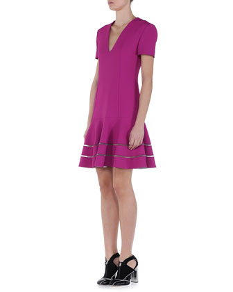 V-Neck Sheer-Striped Drop-Waist Dress