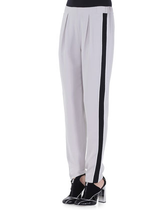 Side-Striped Pleated Track Pants