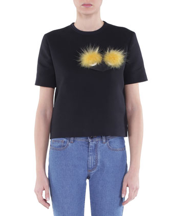 Double-Faced T-Shirt w/ Fox Fur Eyes, Black