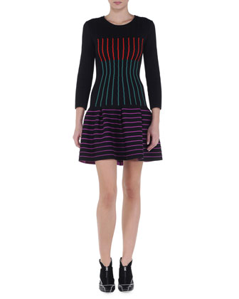 Multicolor Striped Drop-Waist Dress