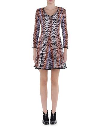 Croc-Print Fit-and-Flare Dress
