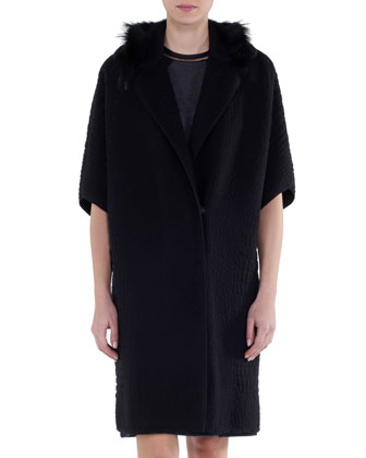 Fur-Trimmed Matelasse Coat
