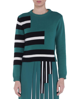 Cashmere Piano Striped Sweater, Green/White/Black
