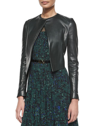 Cropped Leather Jacket & Printed Pintuck Dress