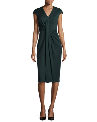V-Neck Draped Jersey Sheath Dress