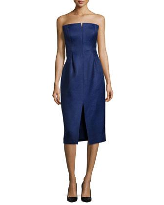 Strapless Slit-Front Dress