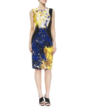 Angled-Seam Abstract-Print Sheath Dress