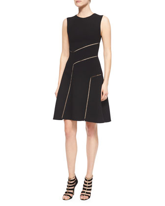 Angular Hemstitch-Seamed Fit-And-Flare Dress