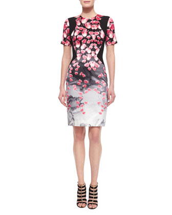 Tulip-Print Contrast-Inset Sheath Dress