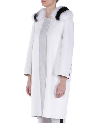 Double-Faced Cashmere Coat w/ Striped Fox Fur Collar