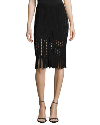 Fitted Zip-Detail Top & Pencil Skirt W/Slit and Fringe Detail