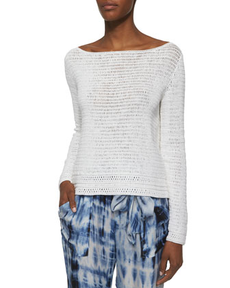 Boat-Neck Textured Knit Top
