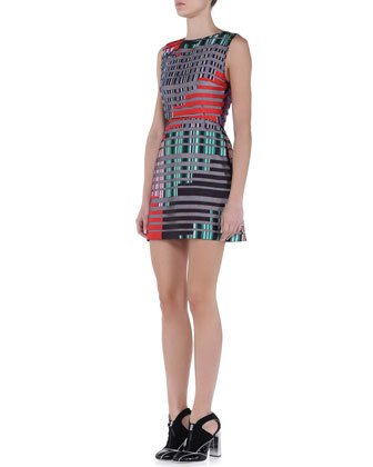 Broken Lines-Print Fit-And-Flare Dress
