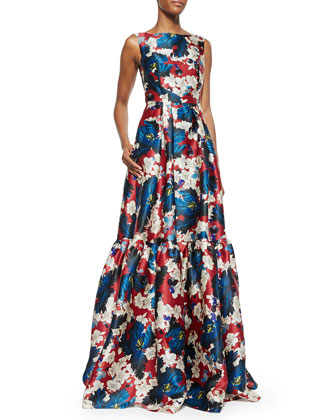 Alouette Floral-Print Tiered Gown