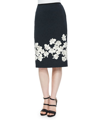 Aysha Floral-Border Pencil Skirt
