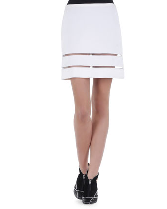 Sheer-Striped Double-Faced Mini Skirt