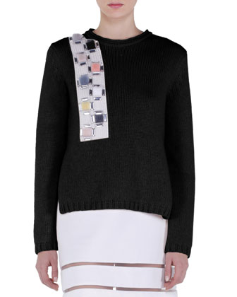 Cashmere Crystal Fur Applique Sweater