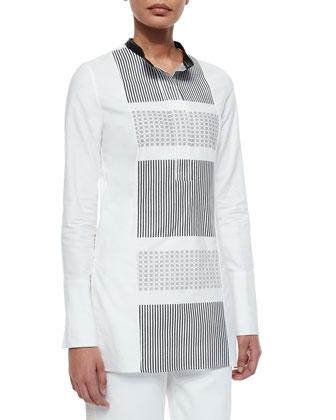 Grid-Print Hand-Woven Tunic