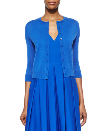 3/4-Sleeve Cardigan & Pleated V-Neck Dress