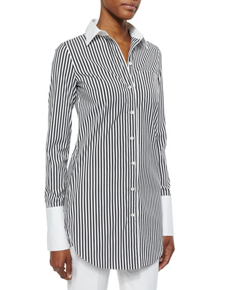 Striped French-Cuff Long Dress Shirt