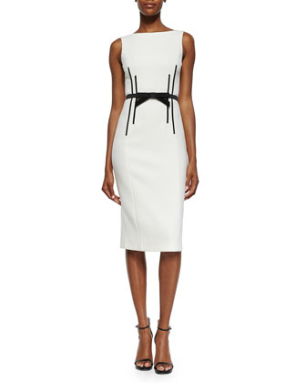 Sleeveless Sheath Dress w/Bow Belt