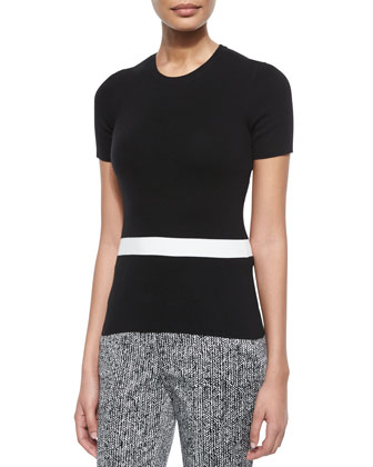 Short-Sleeve Colorblock Sweater, Black/White