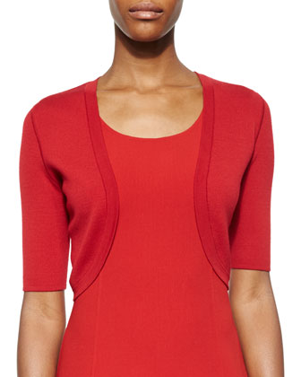 Merino Cropped Shrug & Flounce-Hem Sheath Dress