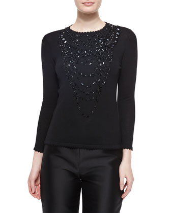 Jewel-Embellished Scallop-Trimmed Top & Skinny Trouser Pants